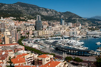 Monte Carlo, Monaco - View of the harbor from the palace.  Preparations for the Formula 1 race can be seen in the foreground.